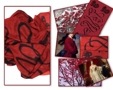 Love Lion Black and Red Scarf Asneh AW 2015