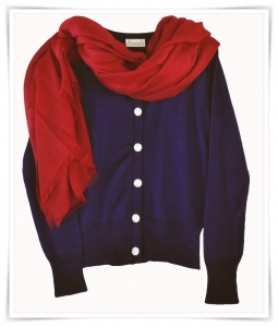 Asneh dark blue cashmere cardigan with diamante buttons and red cashmere scarf