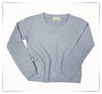 Honeycomb round neck Imperial grey cashmere sweater Asneh AW 2015