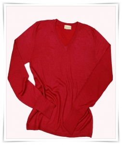 Asneh red cashmere v-neck sweater