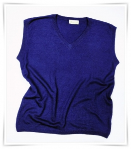 cashmere V-neck vest Eclipse Dark Blue Asneh AW 2015
