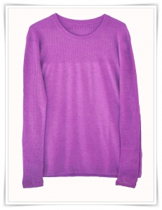 amethyst cashmere cloud swinger sweater with rib detailing