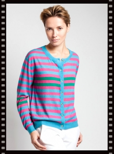 Asneh Ghita Striped Silk Cashmere Cardigan
