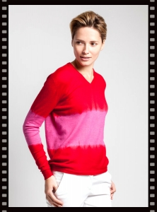 Asneh Red Cashmere Tie-dye Sweater