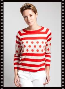Asneh Rosa Stripes and Dots Silk Cashmere Shirt