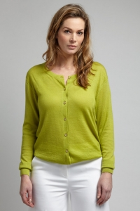 Asneh Oasis green Mathilda cardigan in 100 % cashmere with gold buttons