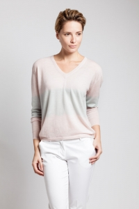 Asneh blush and silver tie-dye cashmere v-neck
