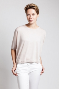 Asneh blush coloured batwing shirt in silk and cashmere