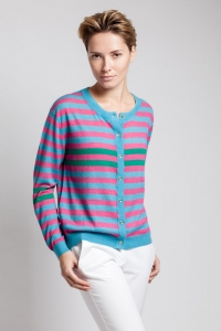 Asneh striped cashmere and silk cardigan with gold buttons