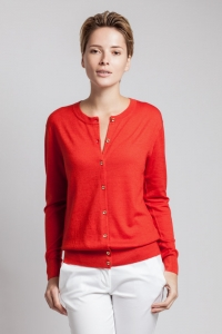 Red cashmere cardigan with gold buttons by Asneh