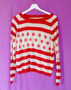 Asneh Red and White Rosa Silk Cashmere sweater with stripes and dots SS2016