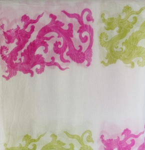 Asneh close-up Lisa cashmere dragon print scarf
