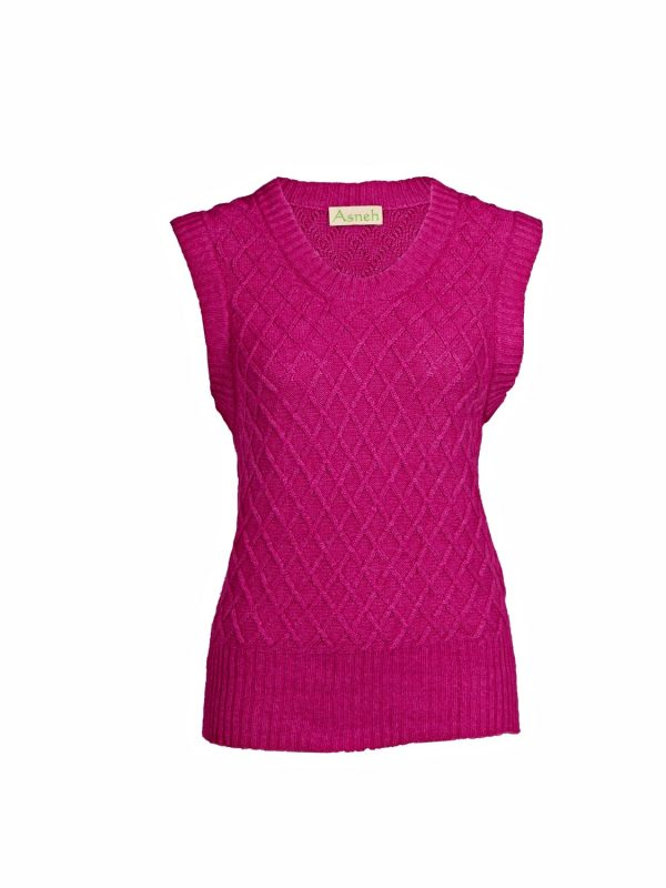 Asneh diamond patterned silk cashmere sleeveless sweater in pink