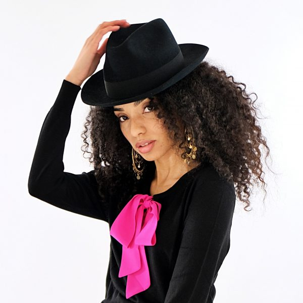 black silk cashmere top with pink silk tie pussy-bow