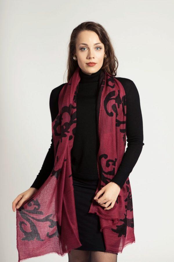 asneh brown cabernet cashmere print scarf