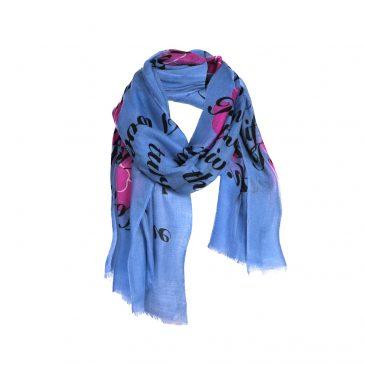 Asneh Blue Viola love poem cashmere scarf-min