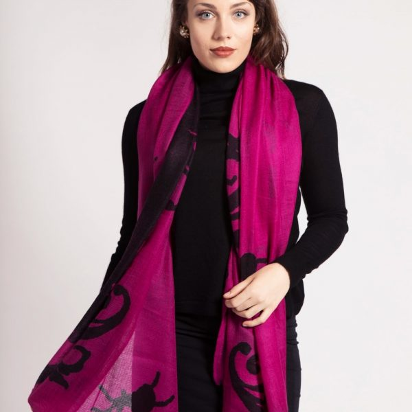 asneh Lola pink and black print cashmere scarf