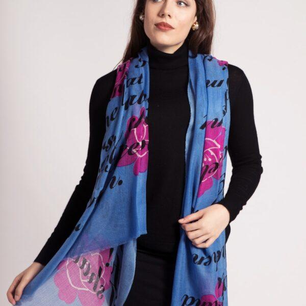 asneh VIola love print cashmere scarf
