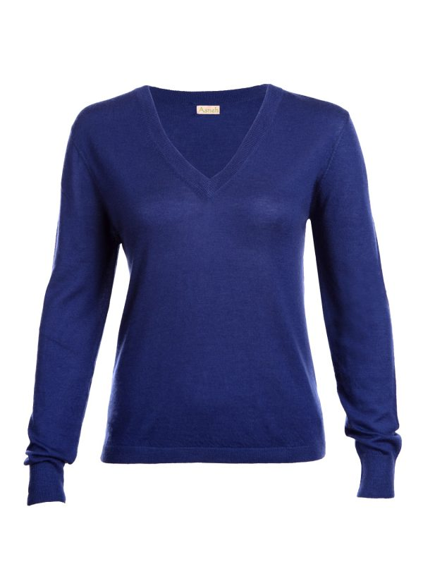 Asneh Mathilda dark blue v-neck cashmere-min
