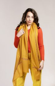 Mustard yellow embroidered cashmere pashmina