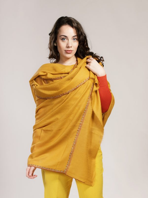 yellow embroidered pashmina