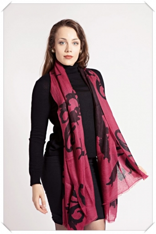Black cabernet burgundy brown cashmere scarf with print by Asneh