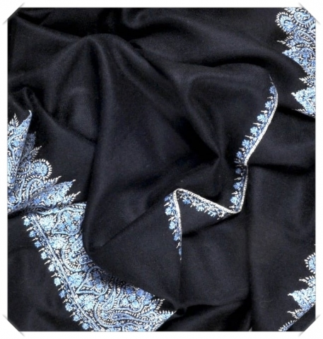 Blue and white embroidery black cashmere pashmina Friends of Asneh