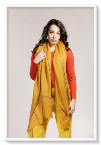 Friends of Asneh Mustard yellow pashmina with embroidery