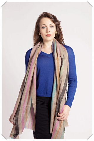 Friends of Asneh Striped cashmere scarf