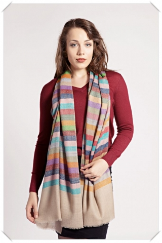 Friends of Asneh Striped multi coloured cashmere scarf