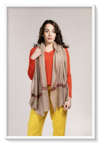 Friends of Asneh natural colour hand embroidered pashmina
