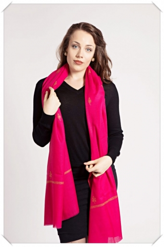 Large red cashmere shawl with embroidery by Friends of Asneh