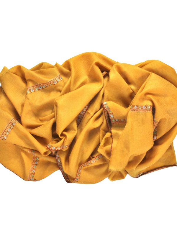 Mustard yellow embroidered cashmere pashmina - Friends of Asneh-min