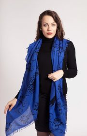 asneh Lotus black and blue silk cashmere scarf