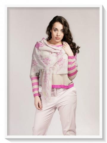Asneh Lotus Scarf silk cashmere