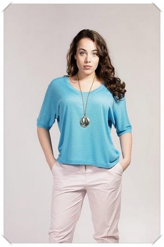 Asneh Gretha Alaskan Blue silk cashmere batwing top
