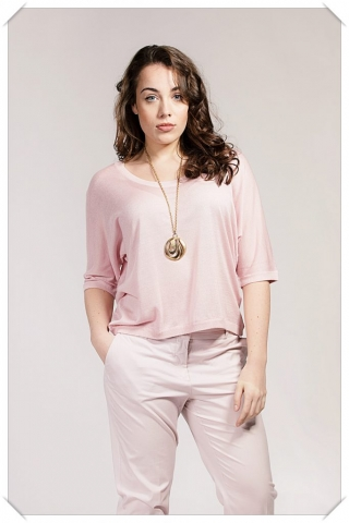 Asneh Gretha Barely Pink silk cashmere batwing top