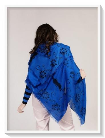 Asneh blue black printed silk cashmere scarf