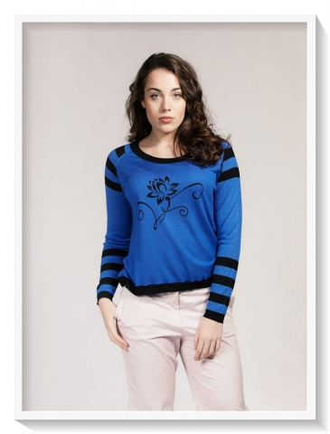 Asneh Lotus Sweater in Blue and Black