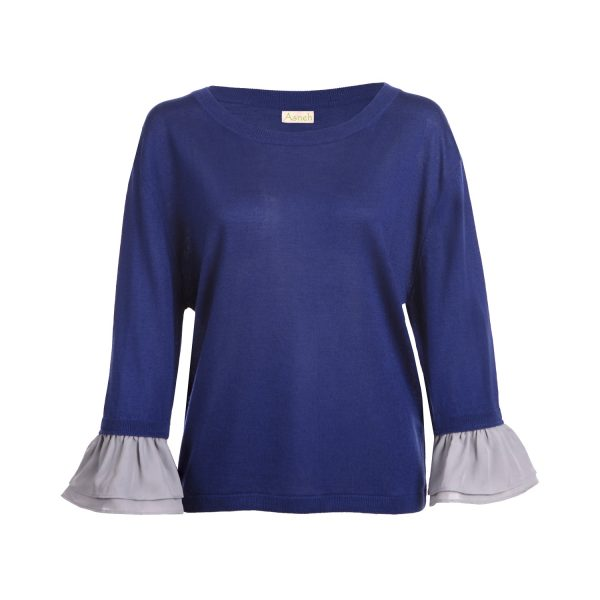 Asneh Agnes blue and silver grey ruffle sleeves-min