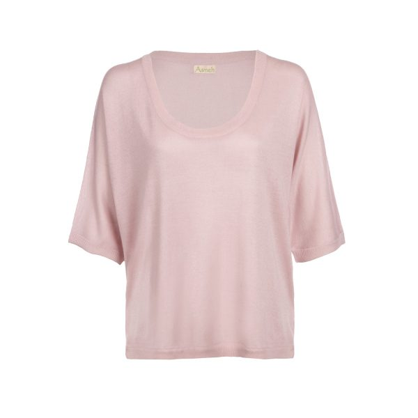 Asneh Gretha batwing barely pink silk cashmere shirt-min