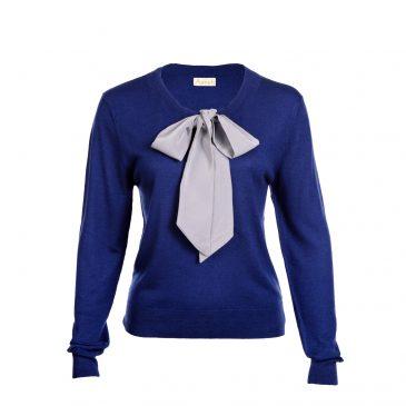 Asneh Helen silver grey silk pussy-bow sweater in blue-min