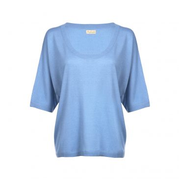 asneh Gretha batwing alaskan blue silk cashmere shirt-min