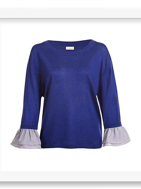 Asneh Agnes Blue silk cashmere top with ruffle-trimmed silk georgette silver grey sleeves