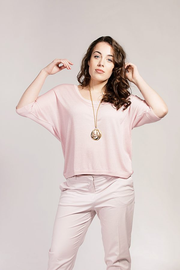 Asneh Barely Pink Gretha Batwing Top