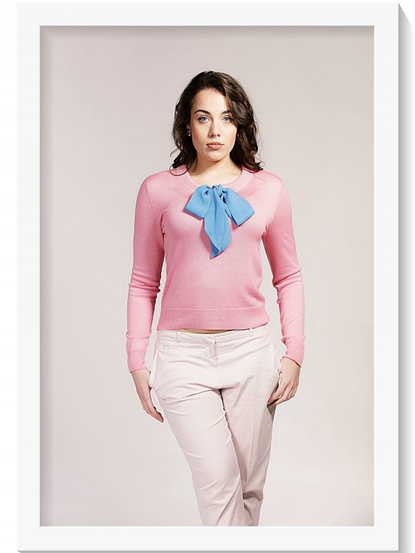 Asneh Helen candy pink sweater with cornflower blue silk pussy-bow