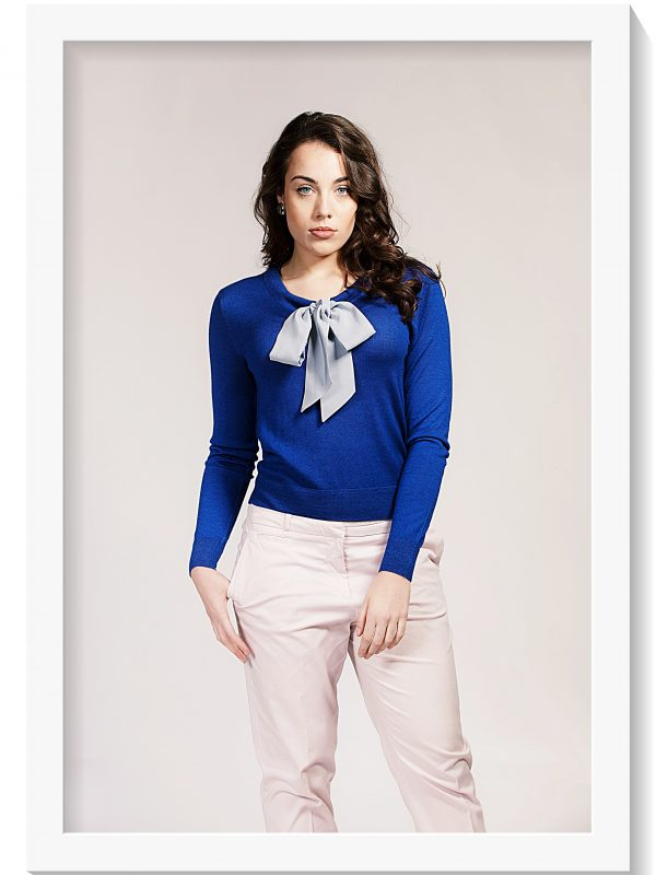 Asneh Helen Sodalite Blue sweater with Silver Grey silk pussy-bow