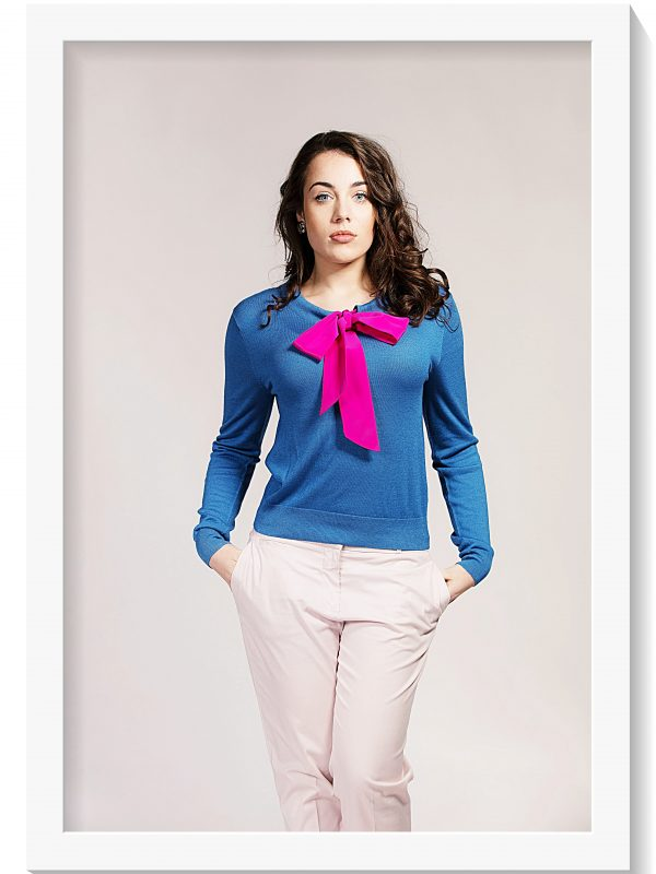 Asneh Helen Blue sweater with Fuchsia Pink silk pussy-bow
