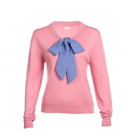 Asneh Helen candy pink pussy-bow sweater