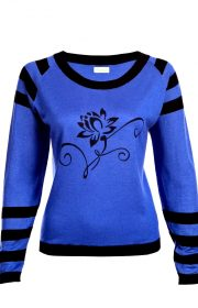 Asneh Lotus Flower silk cashmere blue black sweater-min copy-min